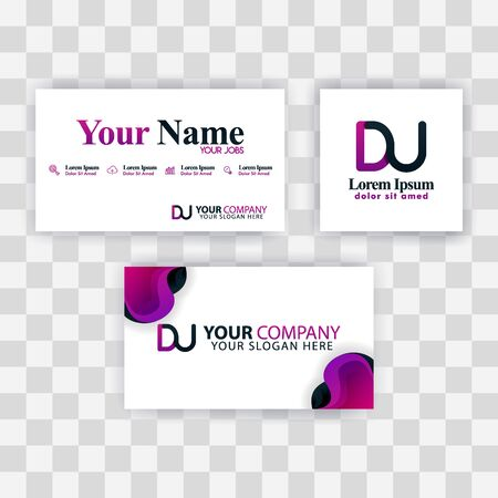 Clean Business Card Template Concept. Vector Purple Modern Creative. UD Letter logo Minimal Gradient Corporate. DU Company Luxury Logo Background. Logo D for print, marketing, identity, identification