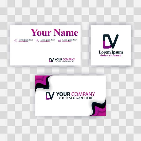 Clean Business Card Template Concept. Vector Purple Modern Creative. VD Letter logo Minimal Gradient Corporate. DV Company Luxury Logo Background. Logo D for print, marketing, identity, identification