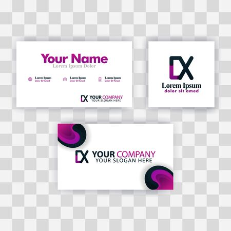 Clean Business Card Template Concept. Vector Purple Modern Creative. XD Letter logo Minimal Gradient Corporate. DX Company Luxury Logo Background. Logo D for print, marketing, identity, identification Ilustrace