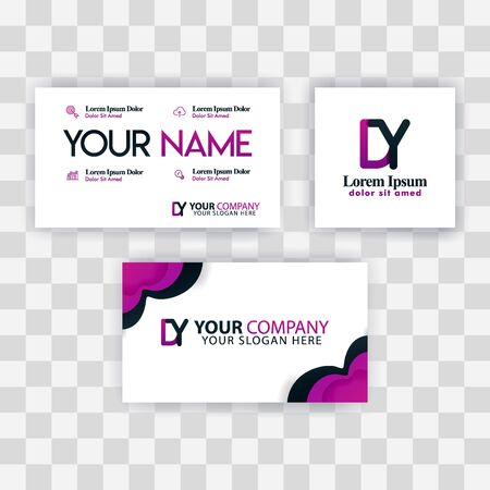 Clean Business Card Template Concept. Vector Purple Modern Creative. YD Letter logo Minimal Gradient Corporate. DY Company Luxury Logo Background. Logo D for print, marketing, identity, identification Ilustrace