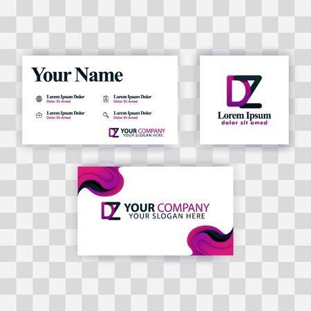 Clean Business Card Template Concept. Vector Purple Modern Creative. ZD Letter logo Minimal Gradient Corporate. DZ Company Luxury Logo Background. Logo D for print, marketing, identity, identification Ilustrace