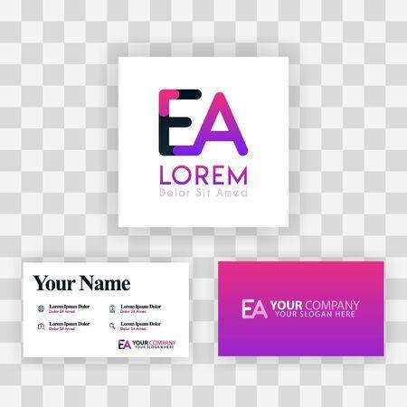 Vector Purple Modern Creative. Clean Business Card Template Concept. AE Letter logo Minimal Gradient Corporate. EA Company Luxury Logo Background. Logo E for print, marketing, identity, identification
