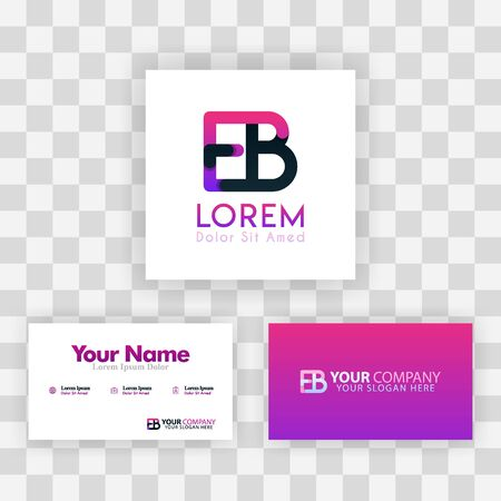 Vector Purple Modern Creative. Clean Business Card Template Concept. BE Letter logo Minimal Gradient Corporate. EB Company Luxury Logo Background. Logo E for print, marketing, identity, identification Ilustração