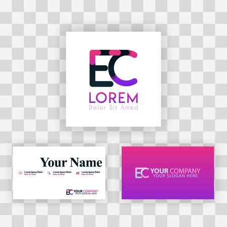 Vector Purple Modern Creative. Clean Business Card Template Concept. CE Letter logo Minimal Gradient Corporate. EC Company Luxury Logo Background. Logo E for print, marketing, identity, identification