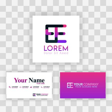 Vector Purple Modern Creative. Clean Business Card Template Concept. EE Letter logo Minimal Gradient Corporate. EE Company Luxury Logo Background. Logo E for print, marketing, identity, identification Ilustrace
