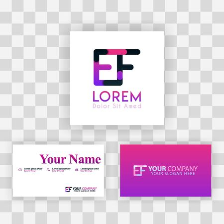 Vector Purple Modern Creative. Clean Business Card Template Concept. FE Letter logo Minimal Gradient Corporate. EF Company Luxury Logo Background. Logo E for print, marketing, identity, identification