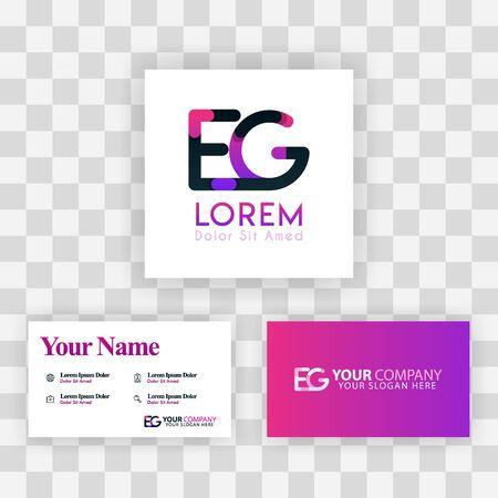 Vector Purple Modern Creative. Clean Business Card Template Concept. GE Letter logo Minimal Gradient Corporate. EG Company Luxury Logo Background. Logo E for print, marketing, identity, identification