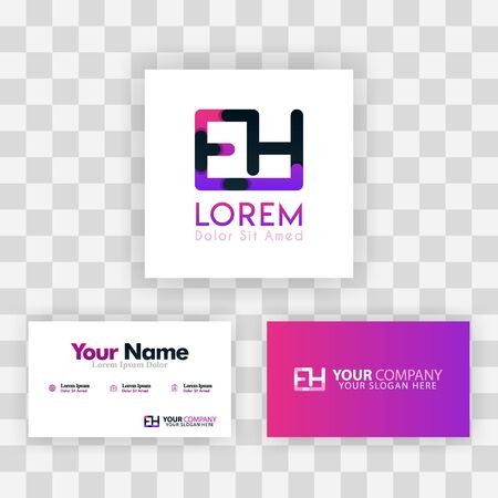 Vector Purple Modern Creative. Clean Business Card Template Concept. HE Letter logo Minimal Gradient Corporate. EH Company Luxury Logo Background. Logo E for print, marketing, identity, identification Ilustrace