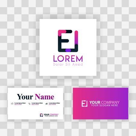 Vector Purple Modern Creative. Clean Business Card Template Concept. IE Letter logo Minimal Gradient Corporate. EI Company Luxury Logo Background. Logo E for print, marketing, identity, identification Ilustrace