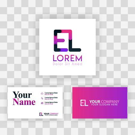 Vector Purple Modern Creative. Clean Business Card Template Concept. LE Letter logo Minimal Gradient Corporate. EL Company Luxury Logo Background. Logo E for print, marketing, identity, identification Ilustrace