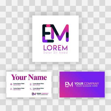 Vector Purple Modern Creative. Clean Business Card Template Concept. ME Letter logo Minimal Gradient Corporate. EM Company Luxury Logo Background. Logo E for print, marketing, identity, identification
