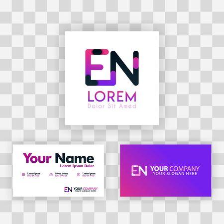Vector Purple Modern Creative. Clean Business Card Template Concept. NE Letter logo Minimal Gradient Corporate. EN Company Luxury Logo Background. Logo E for print, marketing, identity, identification