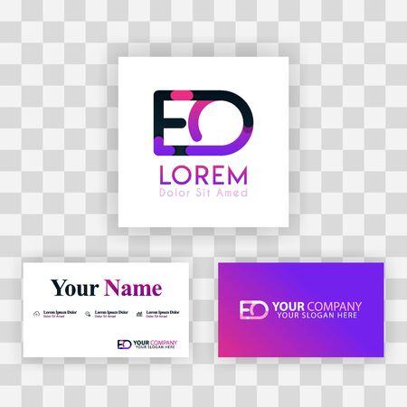 Vector Purple Modern Creative. Clean Business Card Template Concept. OE Letter logo Minimal Gradient Corporate. EO Company Luxury Logo Background. Logo E for print, marketing, identity, identification