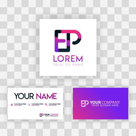 Vector Purple Modern Creative. Clean Business Card Template Concept. PE Letter logo Minimal Gradient Corporate. EP Company Luxury Logo Background. Logo E for print, marketing, identity, identification