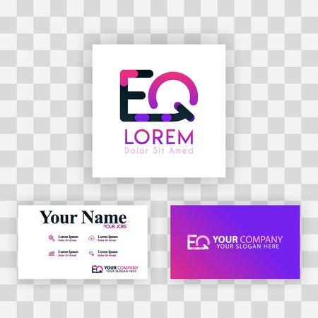 Vector Purple Modern Creative. Clean Business Card Template Concept. QE Letter logo Minimal Gradient Corporate. EQ Company Luxury Logo Background. Logo E for print, marketing, identity, identification