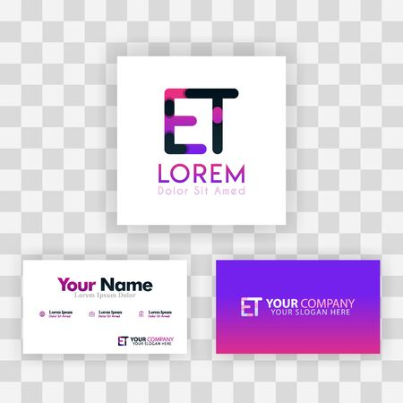 Vector Purple Modern Creative. Clean Business Card Template Concept. TE Letter logo Minimal Gradient Corporate. ET Company Luxury Logo Background. Logo E for print, marketing, identity, identification