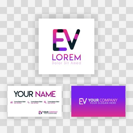 Vector Purple Modern Creative. Clean Business Card Template Concept. VE Letter logo Minimal Gradient Corporate. EV Company Luxury Logo Background. Logo E for print, marketing, identity, identification Ilustrace