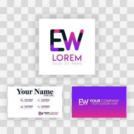 Vector Purple Modern Creative. Clean Business Card Template Concept. WE Letter logo Minimal Gradient Corporate. EW Company Luxury Logo Background. Logo E for print, marketing, identity, identification