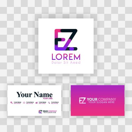 Vector Purple Modern Creative. Clean Business Card Template Concept. ZE Letter logo Minimal Gradient Corporate. EZ Company Luxury Logo Background. Logo E for print, marketing, identity, identification