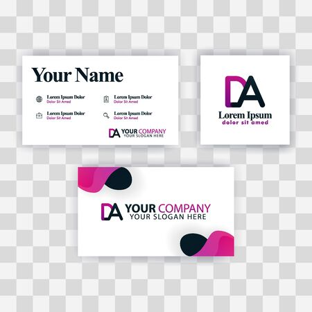 Clean Business Card Template Concept. Vector Purple Modern Creative. AE Letter logo Minimal Gradient Corporate. EA Company Luxury Logo Background. Logo E for print, marketing, identity, identification Ilustrace