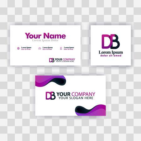 Clean Business Card Template Concept. Vector Purple Modern Creative. BE Letter logo Minimal Gradient Corporate. EB Company Luxury Logo Background. Logo E for print, marketing, identity, identification Ilustrace