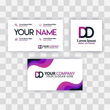 Clean Business Card Template Concept. Vector Purple Modern Creative. DE Letter logo Minimal Gradient Corporate. ED Company Luxury Logo Background. Logo E for print, marketing, identity, identification