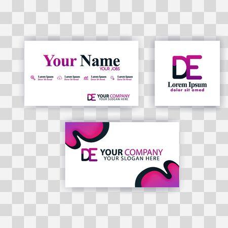 Clean Business Card Template Concept. Vector Purple Modern Creative. ED Letter logo Minimal Gradient Corporate. DE Company Luxury Logo Background. Logo D for print, marketing, identity, identification Ilustrace
