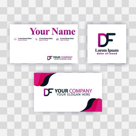 Clean Business Card Template Concept. Vector Purple Modern Creative. FD Letter logo Minimal Gradient Corporate. DF Company Luxury Logo Background. Logo D for print, marketing, identity, identification