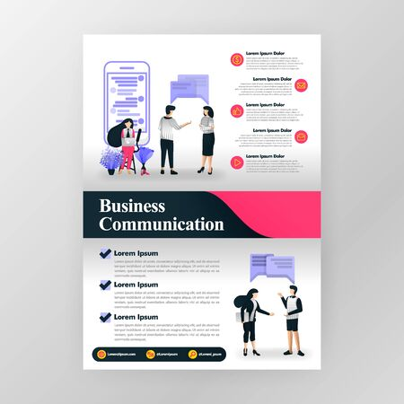 Poster for communication in business, seminar and business motivation. Marketing and teamwork. vector illustration concept for web, website, landing page, mobile app, brochure, poster, magazine cover. Ilustrace