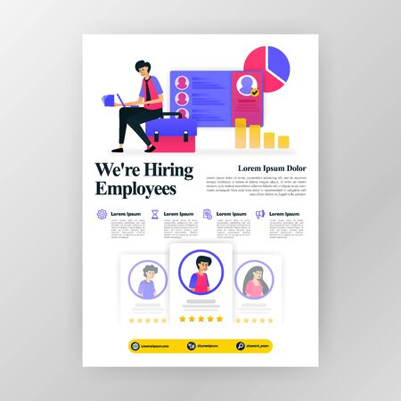 employee recruitment poster, were hiring job seekers ads with flat cartoon illustration. flayer business pamphlet brochure magazine cover design layout space for  vector print template in A4 size