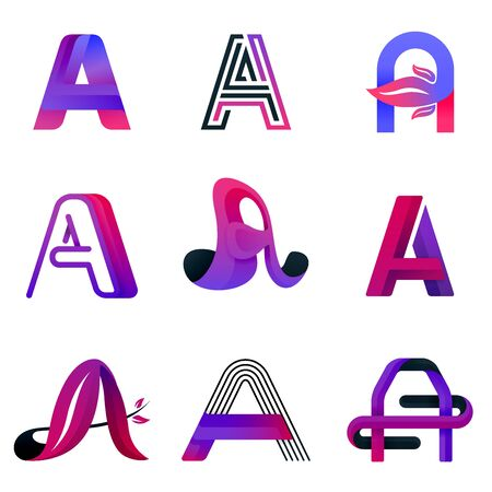 Letter A purple logo template. modern elegant and decorative logo for for company, industry business and technology. logo vector illustration concept with free, nature, line, glossy and abstract style