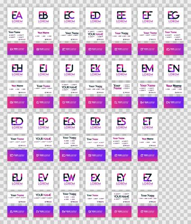 letter E logo pack with implementation to business card. Vector illustration can be for print online media, identification, finance, industry, document, template, flyer, web, landing page, mobile app