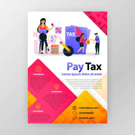 Pay taxes online business poster with flat cartoon illustration. Pay tax flyer business pamphlet brochure magazine cover design layout space for promotion and marketing, vector print template A4 size