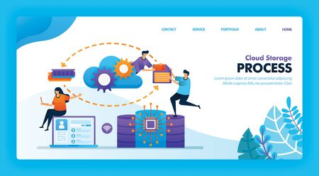 Landing page vector design of Cloud Storage Process. Easy to edit and customize. Modern flat design concept of web page, website, homepage, mobile apps UI. character cartoon Illustration flat style.