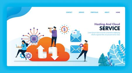 Landing page vector design of Hosting and Cloud. Easy to edit and customize. Modern flat design concept of web page, website, homepage, mobile apps UI. character cartoon Illustration flat style. Ilustrace