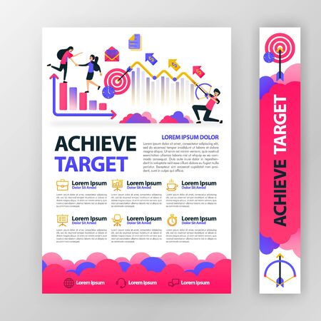 business poster about achieving and planning company targets with flat cartoon illustration. flyer business pamphlet brochure magazine cover design layout space for vector print template in A4 size