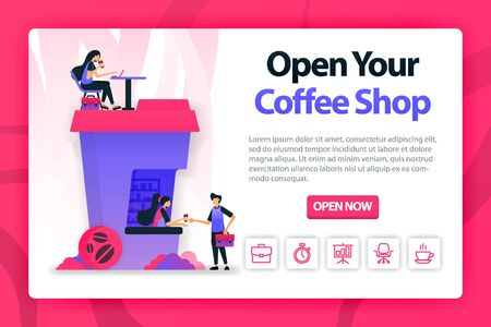 Vector flat illustration about opening coffee shop with one click. orders coffee to a barista and works on the building that shaped coffee cup. can use for landing page, website, web, homepage, mobile 写真素材 - 130043098