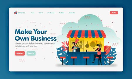 Make your own business vector design illustration with flat cartoon style. Customers buying meal at food counter. Can use for landing page, Website, UI UX, Web, Mobile App, Poster, Banner, Ads, Seo 写真素材 - 130043094