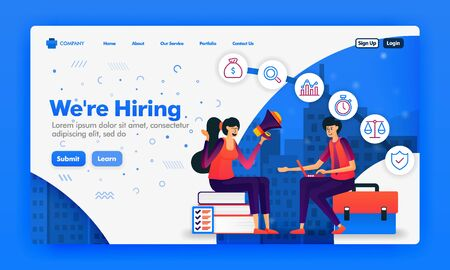 Banner or landing page to recruit employees or we're hiring design concepts. Cartoon illustration of job seeker interview. Can use for landing page, Website, UI UX, Web, Mobile App, Poster, Background 写真素材 - 130043096