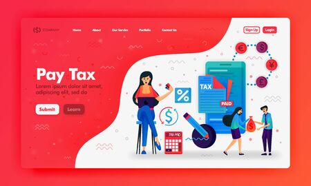 Ads to pay taxes with flat illustrations mobile phone, calculator and document. Filling out and submitting a tax bill. Can use for landing page, Website, UI UX, Web, Mobile App, Ads, Promotion, Poster