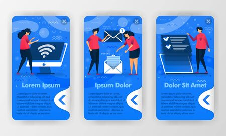 Mobile business apps introduction to work digitally with cartoon flat illustration. Can use for mobile application, UI UX, Smartphone background, Welcome introduction, Started apps, Poster, Promotion