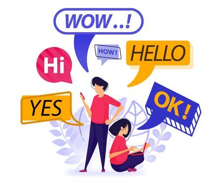 Les gens se saluent et discutent. bulle, ballon et boîte de discussion avec des mots pouvant être utilisés au quotidien ou lors de la première discussion. Illustration vectorielle pour le Web, page de destination, bannière, applications mobiles, carte, livre Vecteurs
