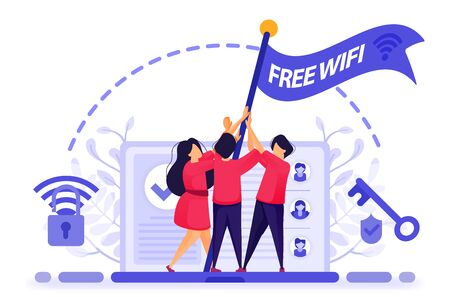 People fly flag for protest to get free internet or wifi access with maximum security. key to break into firewall protection to get free wifi. Vector Illustration For Web, Landing Page, Banner, Mobile 写真素材 - 130043135