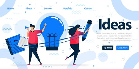Simple landing page template design for education and business. Brainstorming to find solutions, idea and inspiration by writing and reading. Vector Illustration For Web, Landing Page, Banner, Mobile 일러스트