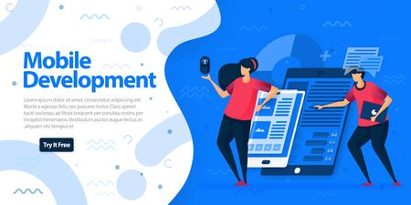 Mobile development apps websites and landing page template. Make mobile apps with more responsive and easier to access on all devices. Vector Illustration For Web, Landing Page, Banner, Mobile Apps