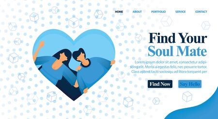 Website for matchmaker, friend and plan your wedding. Find your soul mate and perfect partner here for your wedding and engagement. Vector Illustration For Web, Landing Page, Banner, Mobile Apps, Card 일러스트
