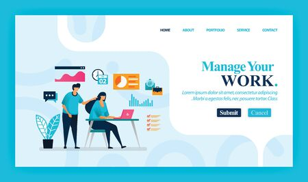 Landing page vector design of Manage Your Work. Easy to edit and customize. Modern flat design concept of web page, website, homepage, mobile apps, UI. character cartoon Illustration flat style. 写真素材 - 130043144