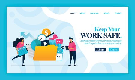 Landing page vector design of Keep Your Work Safe. Easy to edit and customize. Modern flat design concept of web page, website, homepage, mobile apps, UI. character cartoon Illustration flat style. 写真素材 - 130043149