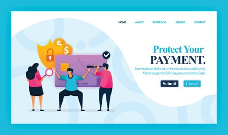 Landing page vector design of Protect Your Payment. Easy to edit and customize. Modern flat design concept of web page, website, homepage, mobile apps, UI. character cartoon Illustration flat style. Иллюстрация