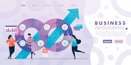 Landing page design of Business Infographic with flat Illustration cartoon character. Business data visualization of layout diagram, banner, web design,  web page, website, homepage, mobile apps, UI. 写真素材 - 130043150